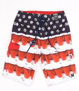 O'Neill Mens Quarters Solo Cup Boardshorts Red Navy 28 New