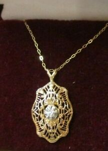 "Art Deco 10K Rose Gold Diamond Filigree Pendant Necklace 18"""