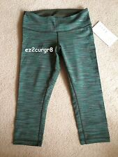 Lululemon Wunder Under Crop Wee Are From Space Fatigue Green Stripes 4 6 10