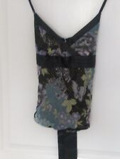 Sexy feminine strappy SUMMER or PARTY top. Immaculate. Black  + satin bow. 12