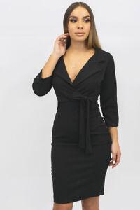 New UK Womens Ladies Blazer Style 3/4 Sleeve Midi Dress With Waist Tie Size 8-16