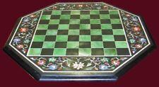 "18"" Chess Table Top Black Marble Pietra Dura Handmade Art Work"