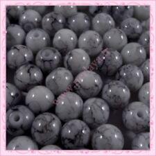 Lot de 25 Perles Verre Teinté 8 mm Rose /& Blanche M1084