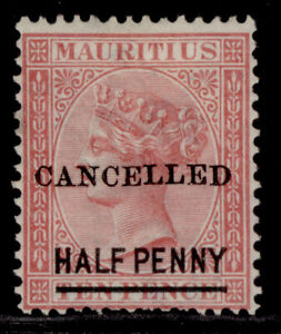 MAURITIUS QV SG79, ½d on 10d rose, UNUSED. CANCELLED