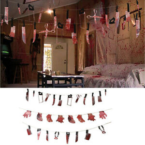 Halloween Fake Body Parts Party Decorations Props Scary Garland Bloody Banner NJ
