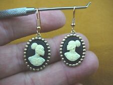 CAE1-35) RARE African American LADY ivory + black CAMEO dangle Earrings JEWELRY