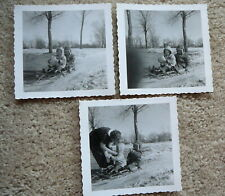 3 - Vintage 1950s Black & White B&W Snapshot Photographs - Children on Sled