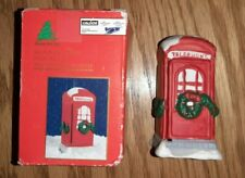 Vintage Caldors Hand Painted Porcelain Telephone Booth Christmas Village