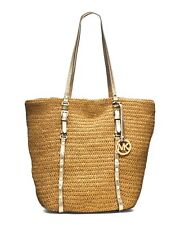 BRAND NEW WOMEN'S MICHAEL KORS STUDDED STRAW LARGE SHOPPER TOTE BAG HANDBAG