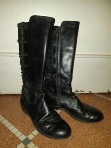 Chaussures bottes plates noires en cuir - Romagnoli - pointure 38