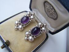 DELIGHTFUL VINTAGE MEXICAN SOLID STERLING SILVER AMETHYST EARRINGS UNUSUAL RARE