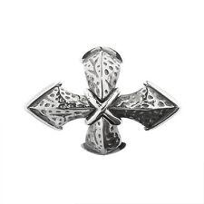 Cruz Amuleto rebeligion PLATA F Pulsera de cuero negro ROCK Large 150113871001