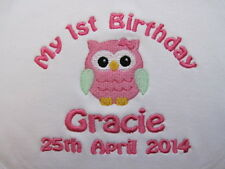 Personalised Baby Bib - Embroidered for Baby's 1st Birthday  - Owl - Gift ! GIRL