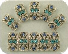 2 Hole Beads Marcasite Tablet Lt Sapphire Aqua Swarovski Crystal Elements QTY 10