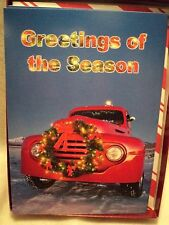 "Leanin Tree ""RED TRUCK WITH WREATH"" ~ BOXED CHRISTMAS CARDS ~ Set Of 10 Cards"