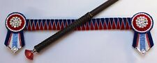 Royal Blue & Red Sharkstooth Browband (34.5cm) & Crystal Show Crop Set - NEW