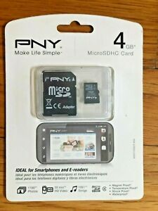 PNY 4GB MicroSDHC Card Cell Phone Memory P-SDU4G4-GE New Sealed Package