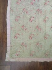Gorgeous Old Antique Comforter Throw Tan with Pink Roses Hand Tied