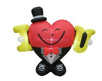 4 FT Tall Valentine's Inflatable Decoration Air Blown Mr Heart in I Love U Sign