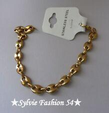 Bracelet bijou homme femme gros grain de café 0,8 cm acier doré or
