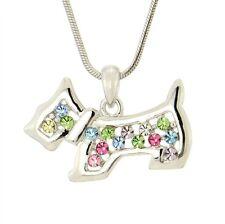 DOG Multicolor W Swarovski Crystal Pet Puppy New Pendant Necklace Chain Charm