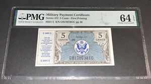 PMG Military Payment Certificate 5 Cent Banknote 1st Printing Series 472 64EPQ C