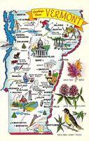 Vermont~Vermont State Map~1960 Postcard