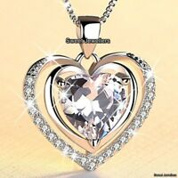 LARGE Diamond Heart Necklace Xmas Gifts For Her Silver Sister Daughter Mum Women