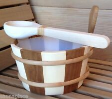 Premium 2-Tone Wood Sauna Bucket w/liner and Dipper - FREE SHIPPING!
