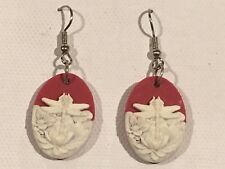 DRAGONFLY CAMEO Earrings Surgical Hook New Red Ivory Resin Handmade (small)