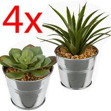 SET OF 4 SUCCULENTS METAL PLANT FLOWER HOME DECORATION PATIO ARTIFICIAL POT NEW