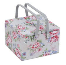 SEWING BASKET BOX 'ROSE' DESIGN Twin Lid Very Pretty SUPER QUALITY shabby chic