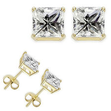 0.50 Carat 4 MM White Princess Cut CZ 925 Silver Yellow Gold Plated Stud Earring