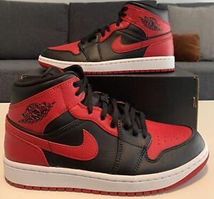 Nike Air Jordan 1 Mid Banned 2020 Black/Gym Red-White 554724-074 Men's Size 9.5