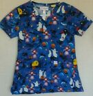 Peaches Uniforms Womens Scrub Top Size XS Halloween Witches Ghosts Black Cats