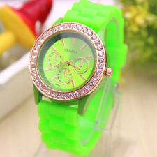 Geneva Silicone Band Wristwatch - Neon Lime Green - Rhinestones & Gold
