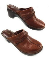 Eastland 3229-92 Brown Leather Slip On Clogs Mules Shoes Women's 10M