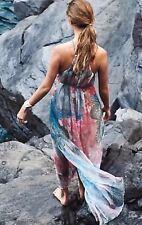 Anthropologie Moulinette Soeurs Sea Star Maxi Silk Dress Retails $188.00 Blue XL
