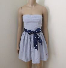 NWT Hollister Womens Striped Strapless Dress Size Small Polka Dot Bow