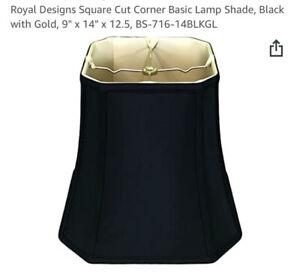 "Royal Designs Square Cut Corner Basic Lamp Shade, Black with Gold, 9"" x 14"" x..."
