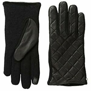 Ralph Lauren Women's Black Quilted Leather Touch Gloves Size M