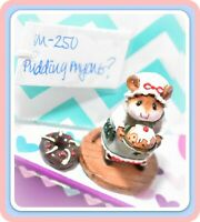 ❤️Wee Forest Folk M-250 Pudding Anyone? Green Pinafore Christmas Retired Mouse❤️