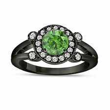 Enhanced Green Diamond Engagement Ring 14k Black Gold Vintage Style Halo 1.03ct