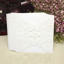 10Pcs Business Wedding Lace Flower Envelope Invitation Cards Greeting Card