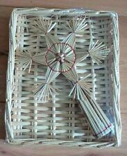 Christmas Decoration, Straw Christmas Cross in Straw Box - 24 cm x 20 cm