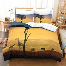 African Giraffe Print Bedding Set Quilt/Duvet Cover Pillowcase Twin Queen King