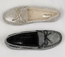 41dbac3c930b MICHAEL KORS SUTTON MOC GLITTER CHAMPAGNE BLACK SILVER WOMEN FLAT SLIP ON  SHOES