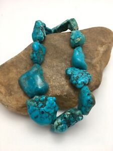 Beautiful Turquoise Nugget Free Form Bead Strand Set 15 inch 3152
