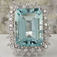 14.90 Carats NATURAL AQUAMARINE and DIAMOND 14K Solid White Gold Ring