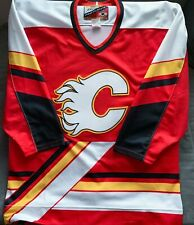 """Calgary Flames """"Pedestal"""" Authentic Pro Player Size 48 Vtg NHL Jersey"""